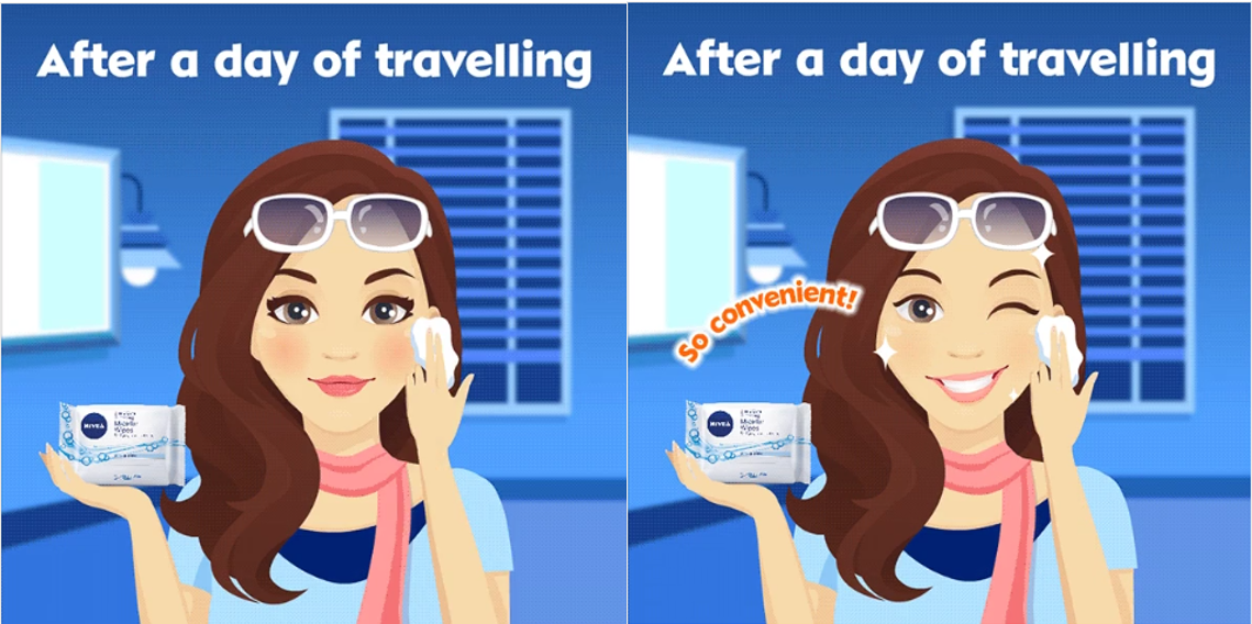 Nivea Singapore promotes their all-New NIVEA Micellar Wipes through a motion graphic gif in their latest social media marketing campaign.